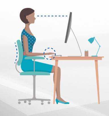 Profile illustration of woman, sitting at a computer workstation