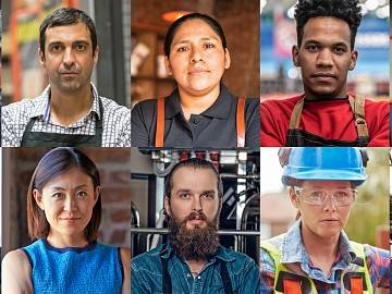 A collage of portraits of diverse workers