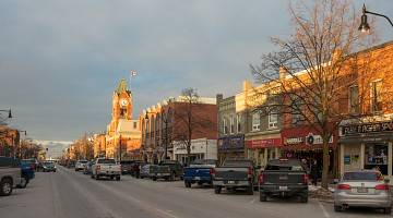 Main street of an Ontario small town in sunset