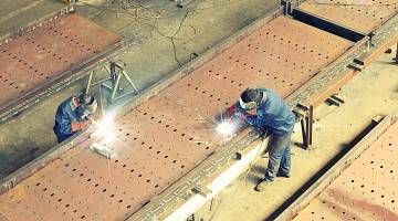 Overhead shot of welding workers