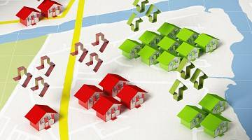 Graphic showing higher and lower priced homes based on neighbourhood