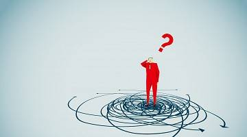 Graphic of man in red suit with red question mark above his head, his feet in a swirl suggesting he is confounded