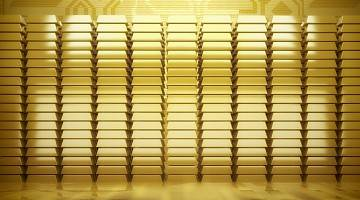 Photo of stacks of gold, referring to gold standard