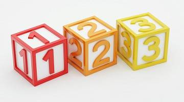 Three children's wooden blocks, number one, two and three