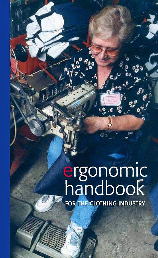Front cover of Ergonomic Handbook for the Clothing Industry, showing a woman working at a machine used in the garment industry