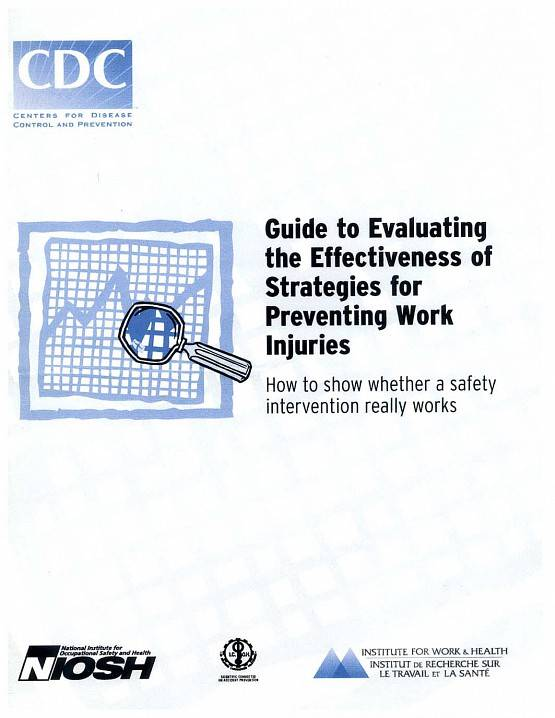 Front page of guide on evaluating work injury prevention strategies