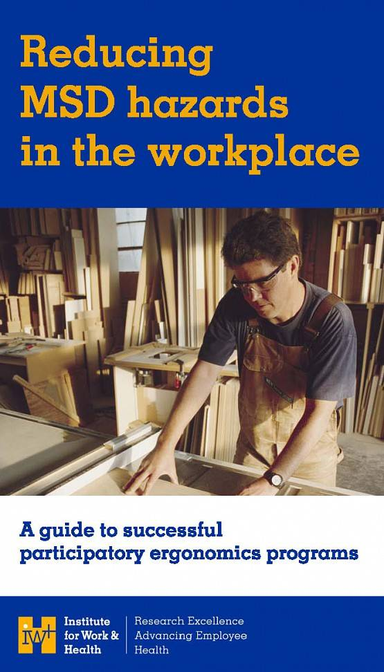 Cover of Participatory Ergonomics Guide showing a man working in a woodshop