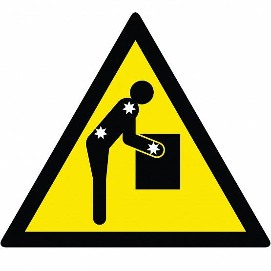 A sample pictogram showing improper way to lift materials
