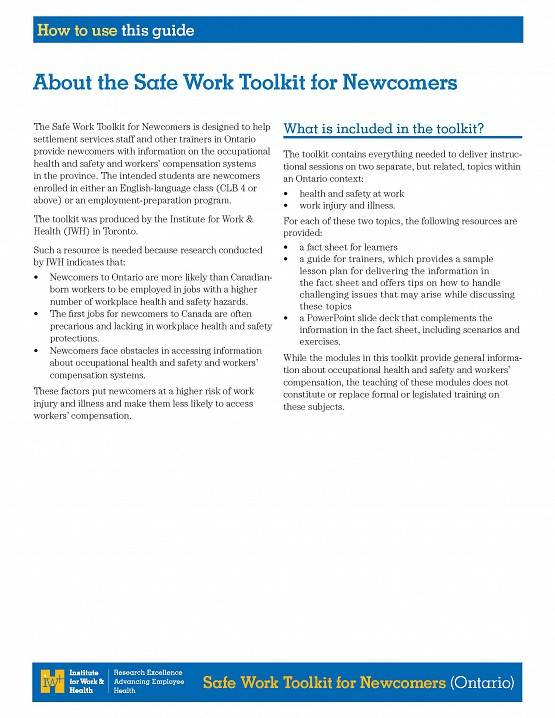 First page of How to use this guide in the Safe Work Toolkit for Newcomers (Ontario)