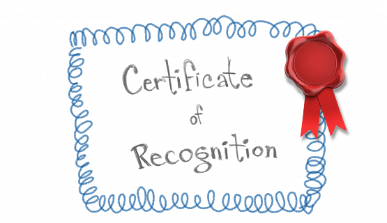 A red ribbon is affixed to a paper bearing the words Certificate of Recognition