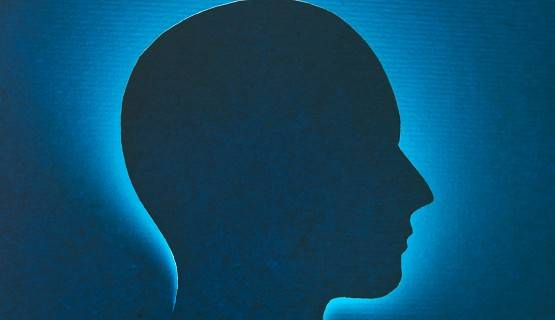 A blue profile drawing of a head