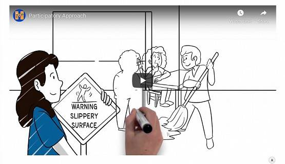 Video image showing a hand drawing workers mopping up a wet surface