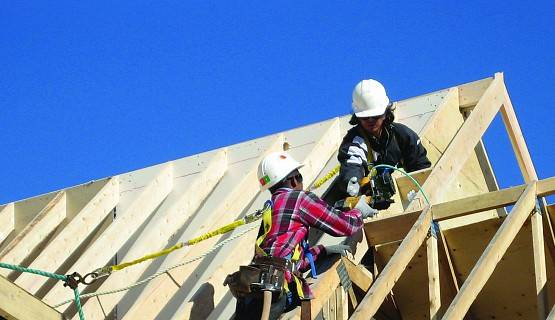 Roofers Tied Off with Nail Gunbooth IHSA