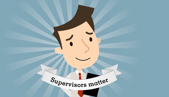 "Graphic of supervisor, with ""supervisors matter"" in text"